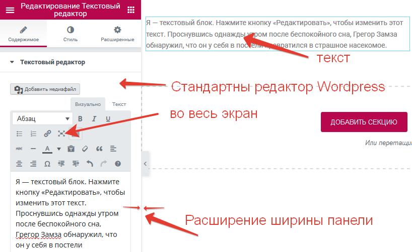 стандартный редактор wordpress в конструторе сайта